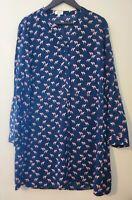 CROWN & IVY Blue Pink Sea Horse Sailing Skater Tunic Drawstring Dress Sz 14