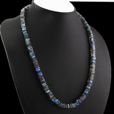 AAA 235.00 CTS NATURAL UNTREATED BLUE COLOR FLASH LABRADORITE BEADS NECKLACE