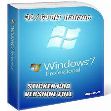 Licenza Windows 7 Professional 32/64 Bit versione sticker COA CON DVD ALLEGATO