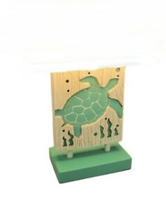Scratch & Dent Green and White Sea Turtle Table Lamp with Linen Look Shade