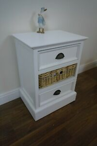 Three Drawer Bathroom Chest Of Drawers In White - Rattan Drawer - Solid Wood