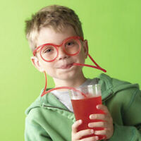 Funny Glasses Drinking Straw Kids Party Supplies Creative Toy Gifts - Clear