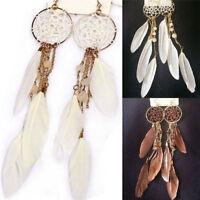 New Womens Bohemia Feather Beads Long Tassel Dream Catcher Hook Earrings Jewelry