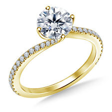 1.00 Ct Round Cut Diamond Engagement Rings Real 14K Yellow Gold Size I J K L M N