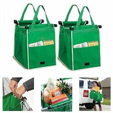 2Pcs Portable Grab Bag Shopping Bag Reusable Eco Friendly Clips To Your Cart