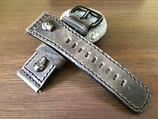 Vintage gray handmade Leather Watch Strap, watch band - Metal Skull, 28mm lug