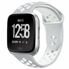 For Fitbit Versa Band Soft Perforated Sport Strap Adjustable Size Holes Gray New