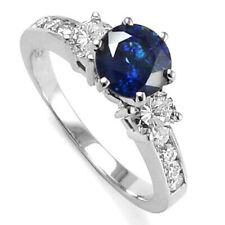 18k Gold Sapphire Diamond Engagement Ring #R1164