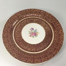 Vintage Stetson China Dinner Plate, Burgundy / 22kt Gold Flower/Scroll