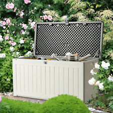 More details for outdoor garden storage box cushion patio chest plastic lid container 227l