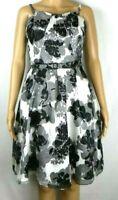 White House Black Market Dress & Belt Womens Size 6 Silk White Floral Print NWOT