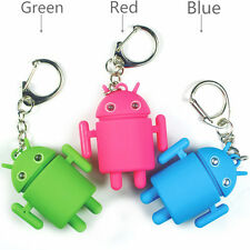 Cool Android Mini Robot Toy Key Chain Ring Fob w/ Blue LED Light-Up Eyes & Sound