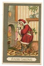 Vintage Postcard Father Christmas Santa Red Robe Filling Stockings with Toys