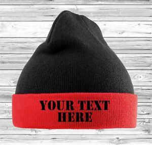 Personalised Recycled Beanie Adult Cuffed Woolly Knit Ski Hat with Name Slogan