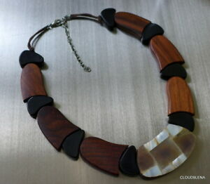 Large Brown/Black Wood Beads Shell covered Pendant Statement necklace + Bracelet