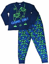 Boy's Space Invader Game On Controller LONG Pyjamas 7-14 Years Green Navy