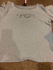 Victoria Secret Bling Angel Shirt Top Gray Short Sleeve New Medium Ruffle Sleeve