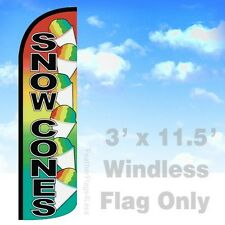 Snow Cones Windless Swooper Feather Flag 3x11.5' Banner Sign - rainbow q