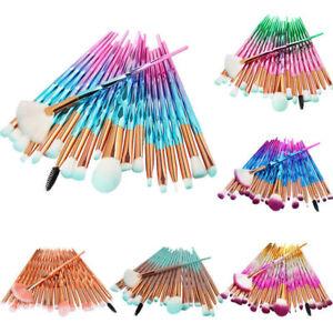 20PCS Unicorn Diamond Make up Brushes Set Foundation Eyeshadow Lip Powder Brush