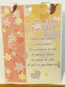 baby shower pram/crib/cot gift baby keepsake new on card with verse,,beautiful