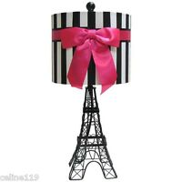 EIFFEL TOWER  TABLE ACCENT LAMP MOULIN ROUGE HOT PINK RIBBON PARIS