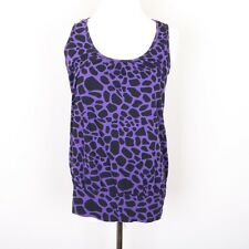 Vanity Sleeveless Blouse Shirt Women's L Purple Black Leopard Print