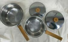 Set of 2 Prestige Stainless Steel Wooden Handled Sauce Pans with Lids #106