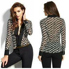 💋💋 GUESS BY MARCIANO LONG-SLEEVE HOUNDSTOOTH 100% SILK TOP 💋💋