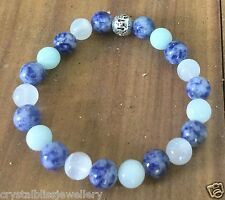 ॐCrystal Blissॐ Reiki Fertility Thyroid Bracelet Sodalite Moonstone Amazonite