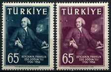 Turkey 1957 SG#1689-1690 Benjamin Frankliin MNH Set #D62275