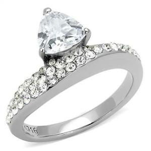 Ladies Trillion ring stainless steel cz cubic zirconia pave engagement new 3207