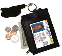 BLACK LEATHER NECK LANYARD ID BADGE HOLDER Zip Pocket Key Ring Wallet US SELLER