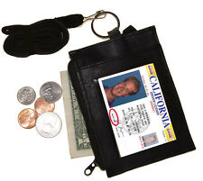 LEATHER ID CARD Badge Holder Neck Zip Pouch Key Ring Wallet with strap Free SH