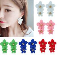 Fashion Boho Painting Big Flowers Tassel Ear Stud Earrings Women Charm Jewelry