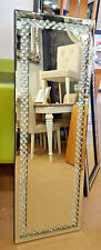 Floating Glass Crystal Rectangle Wall Mirror Elegent Full Length Frame 120x40cm