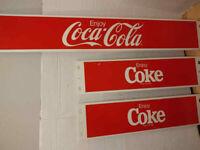 Vintage Enjoy Coca-Cola Soda Heavy Metal Store Display Sign Coke 3 Piece Set