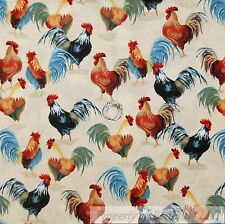 BonEful Fabric Cotton Quilt Cream Country Farm Red Rooster Feather Green L SCRAP