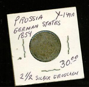 1854 Prussia 2 1/2 Groschen Silver Coin Y 147 A