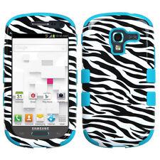 Samsung Galaxy Exhibit T599 IMPACT TUFF HYBRID Case Skin Phone Cover Zebra Teal