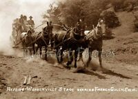 EARLY 1900'S REDDING TO WEAVERVILLE CALIFORNIA CA STAGECOACH STAGE COACH PHOTO