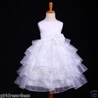 WHITE ORGANZA TIERED WEDDING RECITAL FLOWER GIRL DRESS 12M 18M 24M 2 4 6 7/8 10
