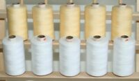 10 LARGE WHITE & ECRU 3PLY 1000M QUILTING SEWING THREAD