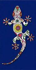Serviette de plage Drap de bain Lézard Salamandre Gecko fleuri bleu dur towel