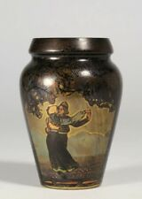 French Art Nouveau Etched Metal Vase - Brittany Dancers - Arts & Crafts  1910