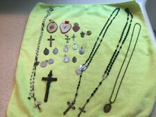 Lot Antique Vintage Rosary Prayer Beads Catholic Medals Crosses