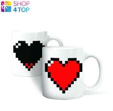 PIXEL HEART MUG LOVE CHANGING COLOR CUP COFFEE TEA MAGIC HEAT SENSITIVE NOVELTY