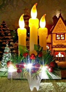 "8.5"" LED Candles With Stocking Holder Flicker Light Battery Operated W/O Battery"