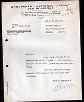 """PARIS (VIII°) VINS d'ALGERIE """"GROUPEMENT NATIONAL D'ACHAT des BOISSONS"""" en 1947"""