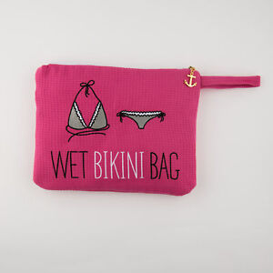 Bikini Bag Women Embroidered Waffle Wet  Fuchsia Pink