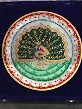 """9"""" White Marble Plate From India. Beatuifully Inlayed Peacock Jewels Hand Paint"""